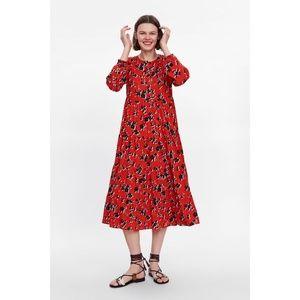 Zara Dresses - NWT Zara Red Floral Print Angel Dress